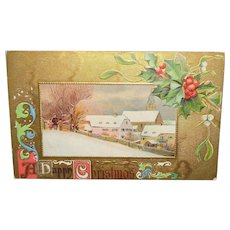 """Vintage Christmas Postcard """"A Happy Christmas"""" Golden Foil with Holly"""