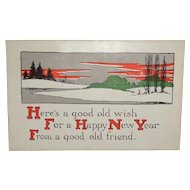 """c1915 New Year's Postcard """"Here's a Good Old Wish"""""""