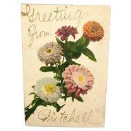 c1906 Vintage Floral Postcard Photo Kunstdruck 400