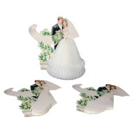 Vintage Honeycomb Wedding Dress Bride and Groom Tabletop Decorations