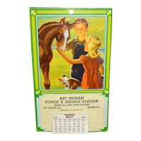 Postcard Sized Calendar Service Station Advertising 1955 Horse, Dog, Boy and Girl