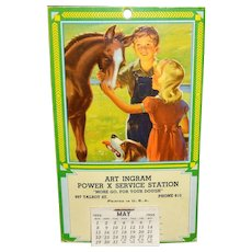Postcard Sized Calendar Service Station Advertising 1955 Horse, Dog, Boy and Girl