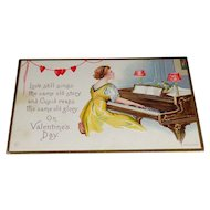 Embossed Lady Playing Piano Valentine's Day Postcard James E. Pitts