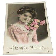 """Bonne Fete"" Tinted Picture Postcard by LUX"
