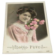 """Bonne Fete"" Tinted Picture Postcard by LUX"