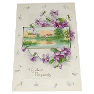'Kindest Regards' Scenic Postcard with Embossed Flowers