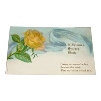 Embossed Yellow Rose Birthday Postcard Printed in Germany