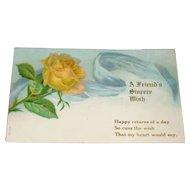 Embossed Yellow Rose Birthday Postcard Printed in Germany