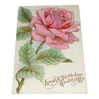 """""""Loving Birthday Greetings"""" Pastel Pink Embossed Rose Postcard"""