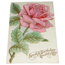 """Loving Birthday Greetings"" Pastel Pink Embossed Rose Postcard"
