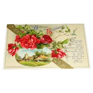 John Winsch Embossed Birthday Postcard Printed in Germany c1912