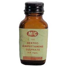 Vintage Amber McC Dextro Amphetamine Sulphate Bottle Screw Cap