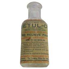 Vintage Medicinal Betul-Ol Analgesic, Anti-Rheumatic