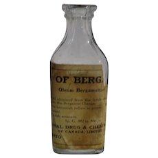 Vintage Medicinal Clear Glass Bottle Oil of Berg.