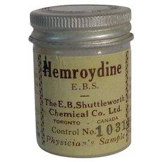 Vintage Hemroydine Milk Glass Jar Physician's Sample