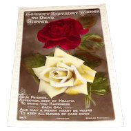 """""""Hearty Birthday Wishes To Dear Sister"""" Beagles Postcards with Roses"""