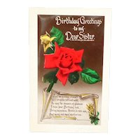 """""""Birthday Greetings to my Dear Sister"""" Gel Photograph Roses Postcard"""