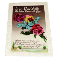 Dear Sister Birthday Wishes 1932 Postcard with Pansies