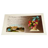 """""""To Mother on her Birthday"""" c1930's Real Photograph Flower Basket Postcard"""