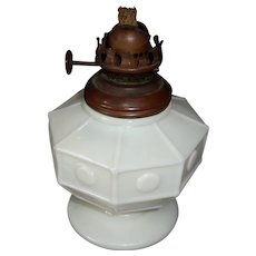 Small Vintage Octagonal Milk Glass Oil Lamp Base