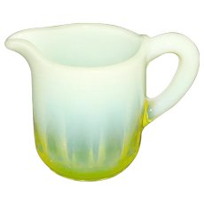 Miniature Canary Yellow Opalescent Vaseline Glass Pitcher