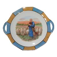 Luster Rimmed Picture Plate with Shepherd, Sheep, and Dog
