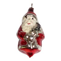 "2 5/8"" Vintage Glass Santa Christmas Ornament Made in Germany"