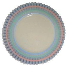 """MacBeth Evans 8"""" Petalware Plate with Pastel Rainbow Rings"""