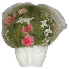 Schiaparelli Paris Vintage Bubble Hat with Flowers and Leaves