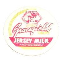 Gracefield Dairy Jersey Milk Pasteurized Original  Cardboard Pog or Bottle Cap