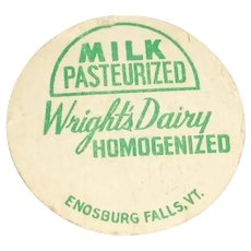 Wright's Dairy Homogenized Milk Pasteurized Bottle Pog or Cap