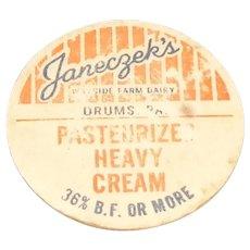 Janeczek's Wayside Farm Dairy Boxboard Pog/Bottle Cap