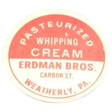 Erdman Bros. Pasteurized Whipping Cream Pog or Cap