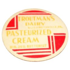 Troutman's Dairy Pasteurized Cream Bottle Pog or Cap