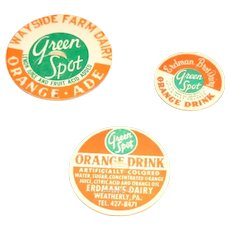 "Three ""Green Spot"" Advertising Milk Bottle Pogs or Caps"
