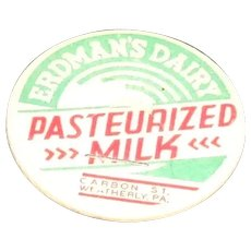 Erdman's Dairy Pasteurized Milk Pog or Bottle Cap