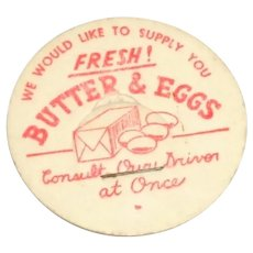 Vintage Milk Bottle Pog or Cap Fresh Butter & Eggs