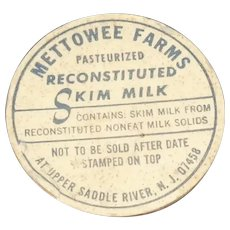 Vintage Mettowee Farms N.J. Pog or Bottle Cap