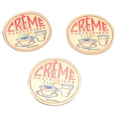 3 Vintage Creme Pasteurisee Cream Bottle Pogs Or Caps