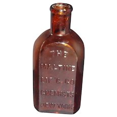 "The Maltine MF""g co. Chemists New York Amber Bottle"