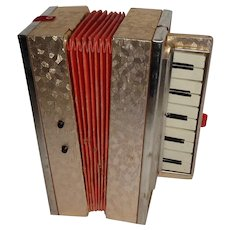 Accordeon Made in Germany Paper Bellows, Tin Keys