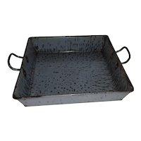 Graniteware Grey Spatter Handled Baking Pan