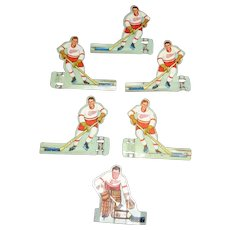 Detroit Red Wings 6 Tin Players Tabletop Game Parts