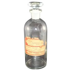 Vintage Clear Glass Apothecary Jar with Partial Label Poison