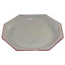 Vintage Enamel Platter Hexagonal White Red Trim