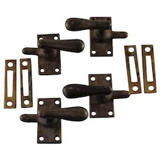 Vintage Set of 4 Solid Brass Cabinet Latches with Catch