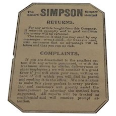 Rare 4 Brown Paper Return Wrappers, The Robert Simpson Company