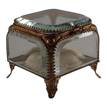 Antique Beveled Glass Jewel Casket Brass Trim