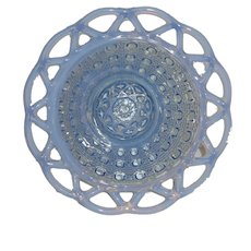 """Lovely Blue Opalescent  6 1/4"""" Reticulated Glass Bowl"""