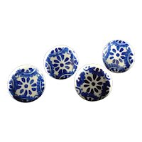 Set of 4 Hand Painted Cobalt Red-ware Drawer/ Cabinet Pulls